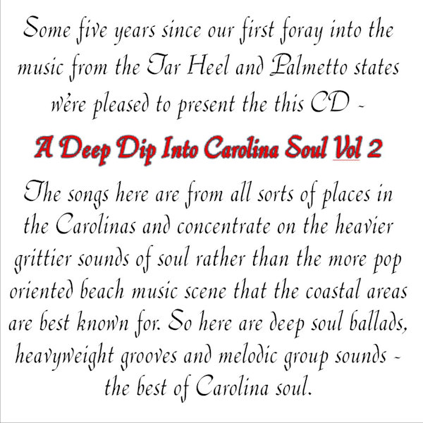 Deep Dip Into Carolina Soul Vol 2